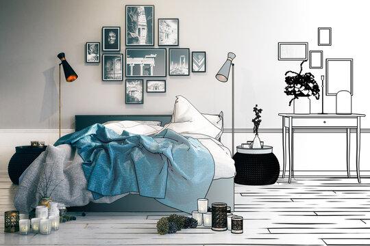 Modern Bedroom Arrangement (drawing) - 3D Visualization