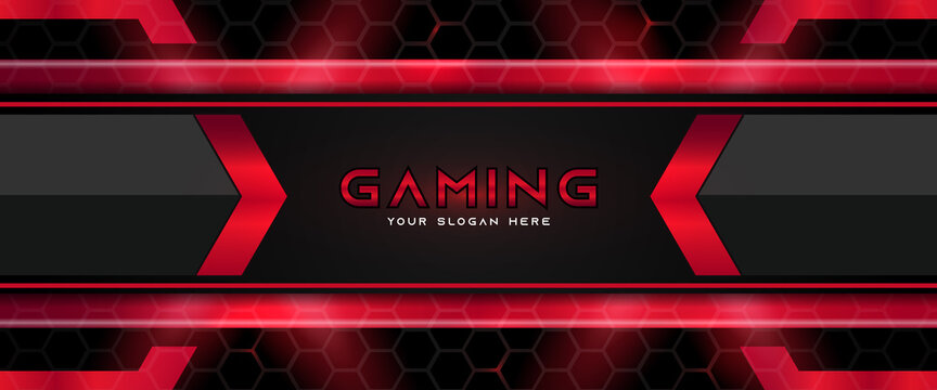 Futuristic red and black abstract gaming banner design template with metal technology concept. Vector illustration for business corporate promotion, game header social media, live streaming background