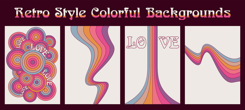 Retro Style Colorful Backgrounds, Vintage Color Wavy Lines and Circles