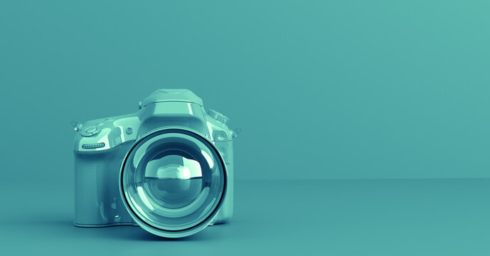 Professional digital camera in one color modern style