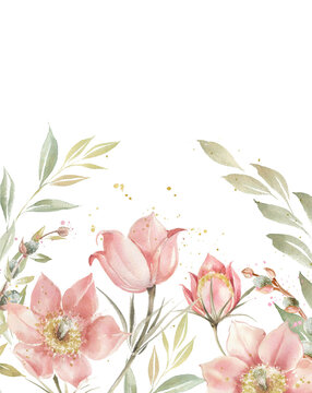 Peach blossom flowers and leaves border. Floral background. Spring flowers print. Vintage template.