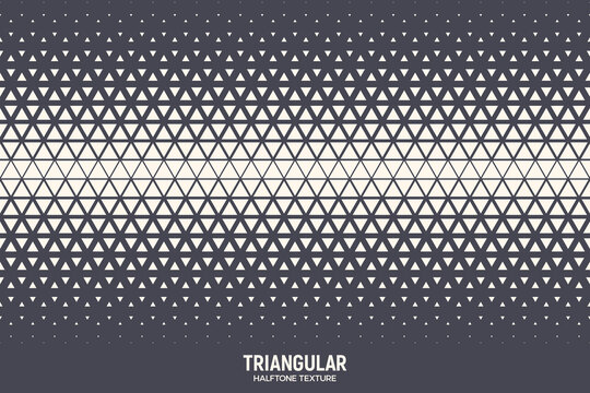 Triangles Halftone Pattern Vector Geometric Technology Abstract Background. Half Tone Triangular Retro Colored Texture. Minimal 80s Style Dynamic Tech Structure Wallpaper