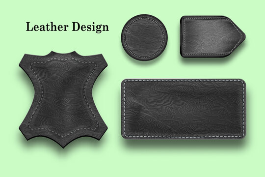 Set of leather labels different shape. Black Round and Rectangular Leather tag for clothes isolated on a light background in vintage style.
