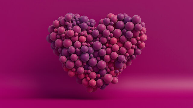 Multicolored Balloon Love Heart. Pink and Purple Balloons arranged in a heart shape. 3D Render