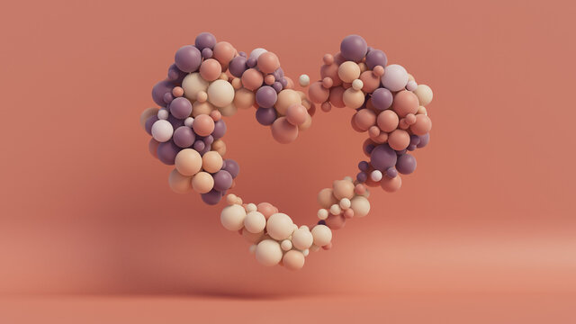 Multicolored Balloon Love Heart. Peach, Purple and White Balloons arranged in a heart shape. 3D Render