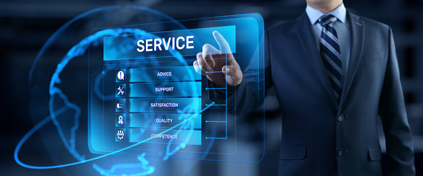 Service customer satisfaction technical support concept on virtual screen.