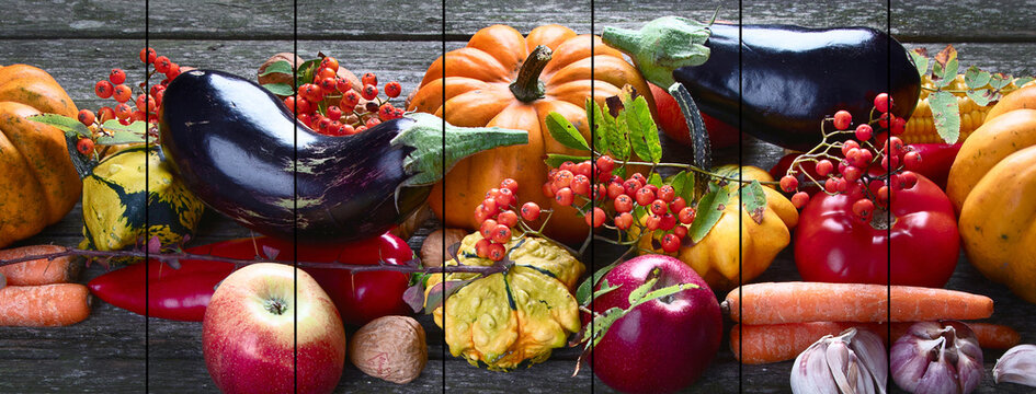 Collage of autumn seasonal cooking concept.