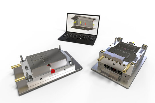 3D render image of a plastic injection mold representing CAD development