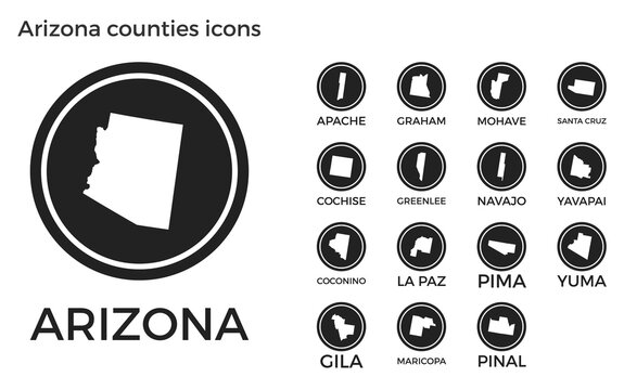 Arizona counties icons. Black round logos with us state counties maps and titles. Vector illustration.