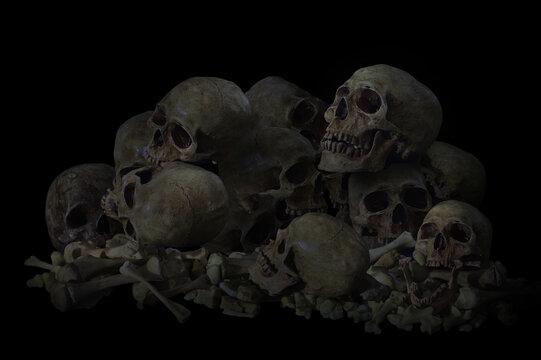 Still Life of Genocide, Pile of Skulls in Black background