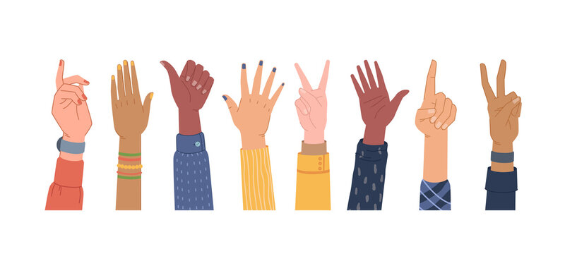 Diversity hands different gestures isolated set. Vector colorful palms, equal and diversity skins, multi ethnic community. Voting and pointing, hi-five, number one finger, thumb up, election vote sign