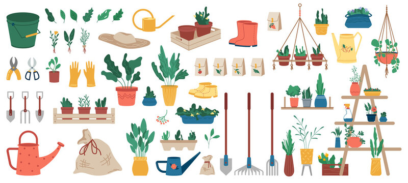 Gardener equipment, set of planting, gardening and farming objects and plants in flowerpots isolated icons. Vector garden tools, rakes and shovels, potted flowers and watering can, bucket and cutters