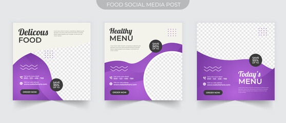 Wall Mural - Simple social media post banner square template for food promotion