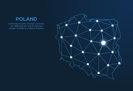Poland communication network map. Vector low poly image of a global map with lights in the form of cities. Map in the form of a constellation, mute and stars