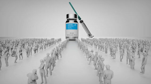 People standing in lines and waiting for their turn to get covid-19 vaccine. 3d illustration