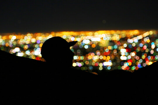 silhouette of man with baseball hat in hammock with city night lights