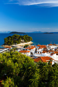 View of the old harbour on Skiathos island and Euboea in the distance.