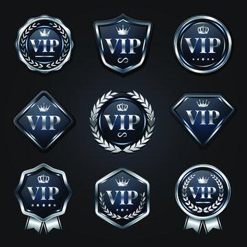 Set of platinum silver VIP badges