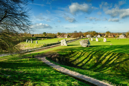 Standing stones at Avebury, on a bright Winter's day, Wiltshire, Uk
