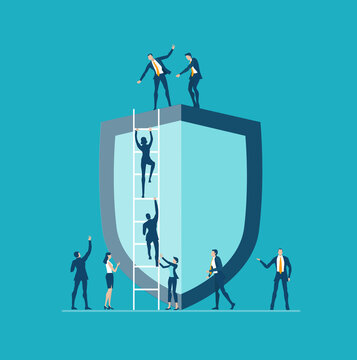 Business people, team working around the shield in order to achieve, open new perspectives. Personal security, data protection business concept illustration