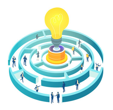Isometric 3D labyrinth business environment. Business management. Isometric space,  business people in maze working together next to light bulb