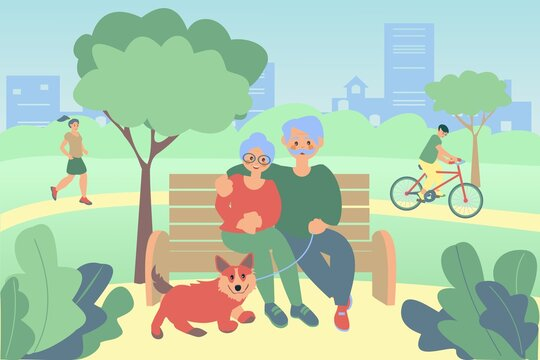 Senior couple and their dog sitting on bench in spring park Men riding a bike. African american girl run Flat vector illustration