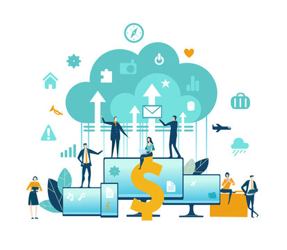 Business people working in finance, online banking concept. Big data, money management, investments, financial advising. Business concept illustration