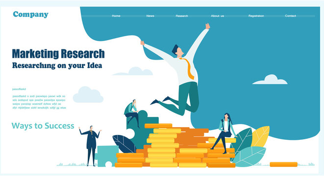 Business people working together in finance industry, advising, investing, developing and supporting new start ups. Creative business website template, modern flat design.