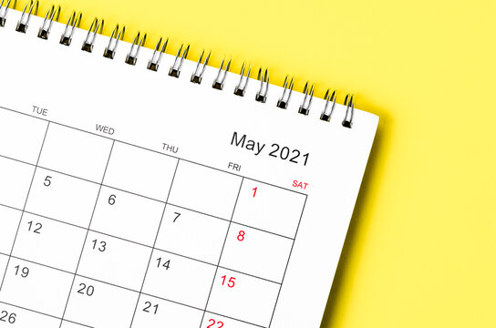 Close up May 2021 Calendar desk for organizer to plan and reminder.