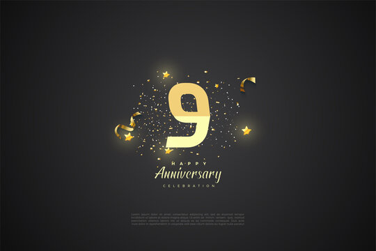 9th Anniversary with graded number illustration.