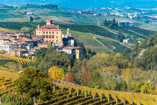 The picturesque town of Barolo with its castle among the vineyards of Langhe Region, UNESCO World Heritage Site, Italy