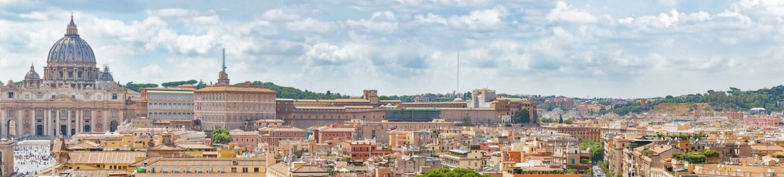 The panoramic  view on the Basilica of St. Peter, Vatican, Rome city