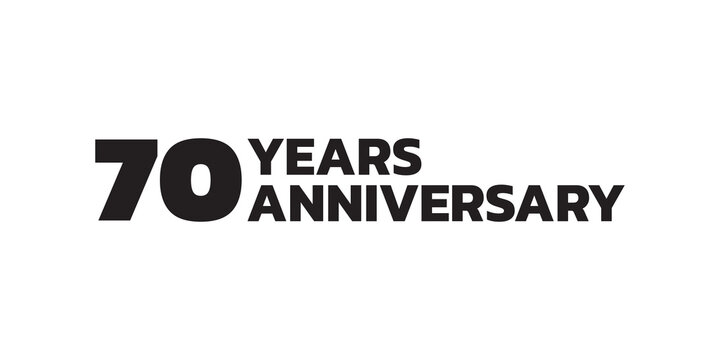70 years anniversary logo design. 70th birthday celebration icon or badge. Vector illustration.
