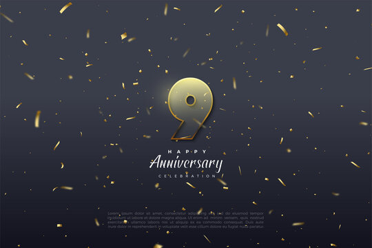 9th Anniversary with transparent and graded numbers.