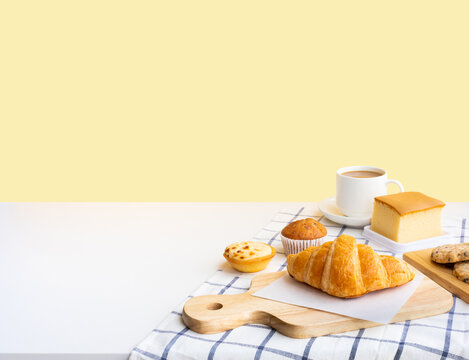 Set of breakfast food or bakery,cake on table kitchen with copy space background.cooking and eating