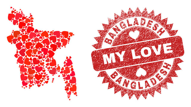 Vector mosaic Bangladesh map of love heart elements and grunge My Love badge. Mosaic geographic Bangladesh map constructed with valentine hearts.