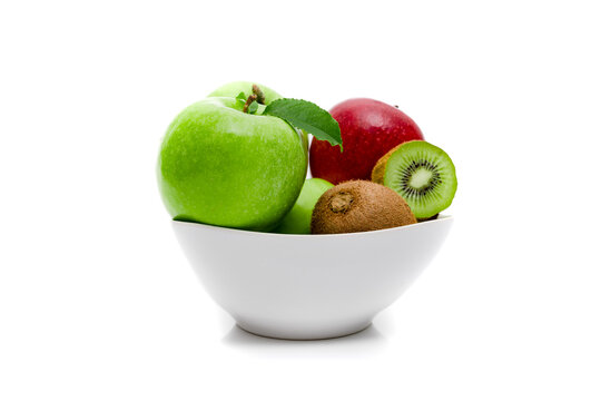 Diet, healthy fruit  in the white bowl - healthy breakfast. Still Life of Fruit