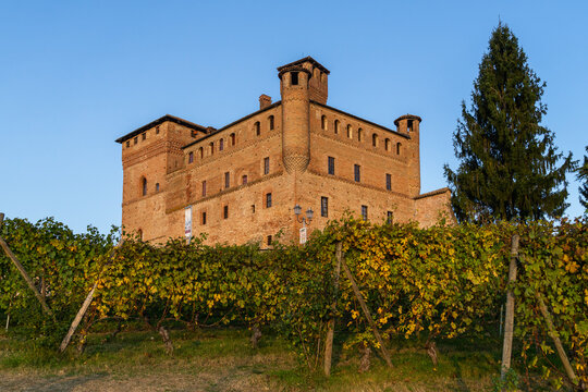 Grinzane Cavour medieval castle is one of the most visited landmarks of Langhe wine district, Piedmont, Italy