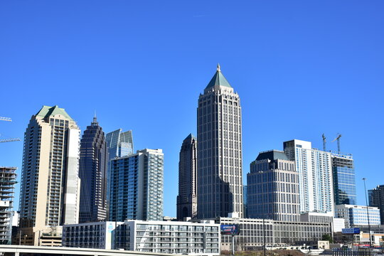 Skyline of Midtown Atlanta with a blue sky