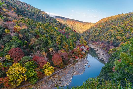 Arashiyama in autumn along the river, Kyoto, Japan. with high resolution files.