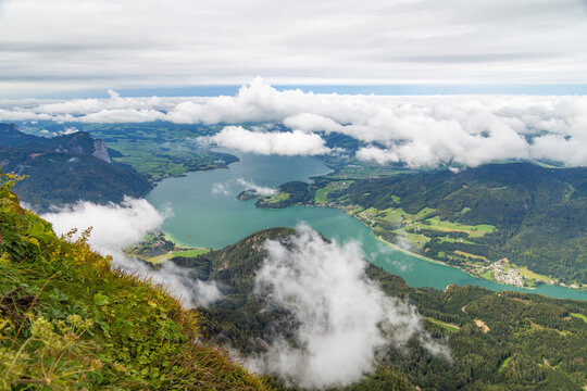 Mondsee lake in Austria as seen from the peak of the Schafberg mountain