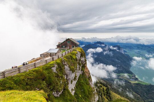 House on top of the mountain - Himmelspforte Schafberg in Austria, between Mondsee and Wolfgangsee lakes