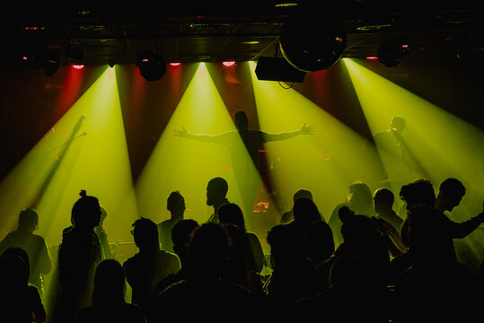 Crowd of people dancing at a night music show in Barcelona with a gree
