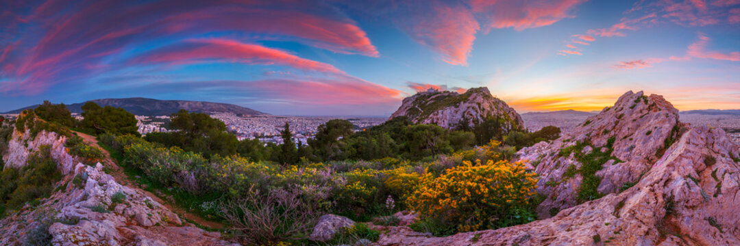 View of Athens from Lycabettus hill at sunset, Greece.
