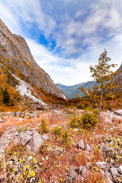 Mountain landscape in autumn in the Watzmann massif in Berchtesgadener Land, Bavaria, Germany.