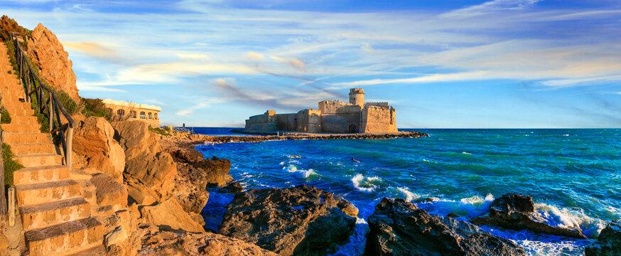 beautiful medieval castles of Italy  - Le Castella.located in the sea.  Isola di Capo Rizzuto in Calabria