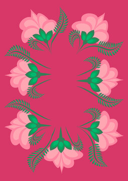 Cover for a book or notepad, postcard - stylized flowers and plants. Frame.