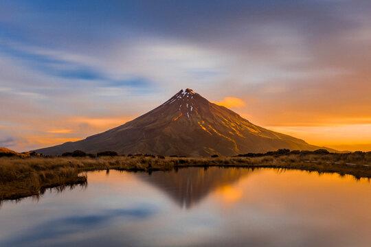 Incredible volcano at sunset in Taranaki, New Zealand
