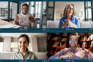 Fototapeta Four diverse business people colleagues participate virtual team meeting on video conference call. Social distance workers having remote videoconference online chat. Computer videocall app screen view obraz
