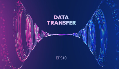 Obraz Abstract data transfer vortex. Futuristic digital technology. Vortex data concept. Spiral motion - fototapety do salonu